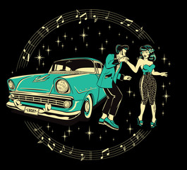 Teddyboy and a rockabilly pinup chick dancing in front of a hotrod against a starry black background