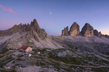 Tre Cime di Lavaredo and Mount Paterno at Sunset, Bolzano province, Trentino Alto Adige, Italy.