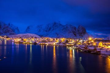 Reine by night, Lofoten, Norway, Europe