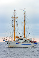 White sailing ship coming from Baltic sea, Europe