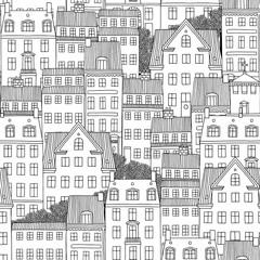 Hand drawn seamless pattern of Danish style houses