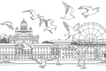 Birds over Helsinki - hand drawn black and white illustration of the city with a flock of seagulls