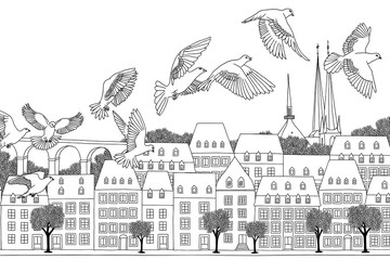 Birds over Luxembourg - hand drawn black and white illustration of the city with a flock of pigeons