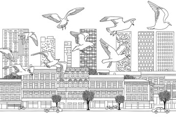 Birds over Oslo - hand drawn black and white illustration of the city with a flock of seagulls