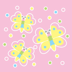 Spring card with cute butterflies suitable for kid postcard, greeting, and invitation card