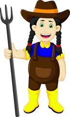 funny female farmer cartoon holding rake