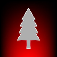 New year tree sign. Postage stamp or old photo style on red-black gradient background.
