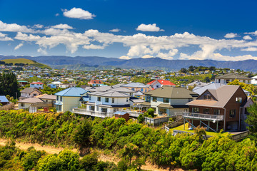 Tuinposter Nieuw Zeeland beautiful neigborhood with houses. Location: New Zealand, capital city Wellington