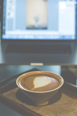 Coffee Latte art, , vintage filtered Images