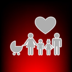 Family sign with heart. Husband and wife are kept children's hands. Postage stamp or old photo style on red-black gradient background.