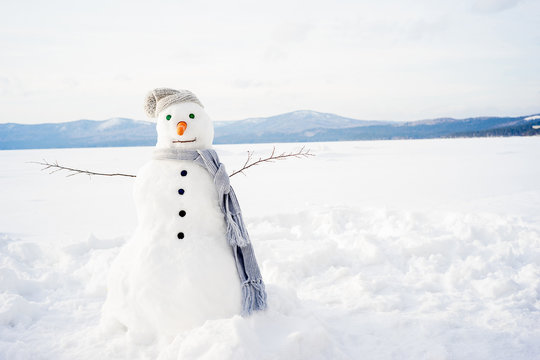 Snowman in a scarf and hat