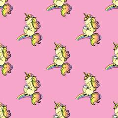 Seamless pattern with cute unicorn,hand drawn,