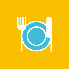 Vector icon or illustration showing plate, knife and fork in outline style