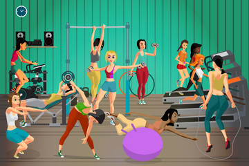 Women in sportswear are engaged in a gym. Vector flat cartoon il