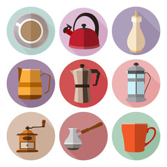 Set of simple coffee flat icons with long shadows on volor circl