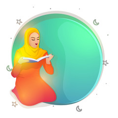 Muslim Woman reading Holy Book, Quran.