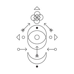 Symbol of alchemy and sacred geometry. Linear character illustration for lines tattoo on the white isolated background.