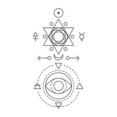 Symbol of alchemy and sacred geometry. Linear character illustration for lines tattoo on the white isolated background. Three primes: spirit, soul, body and 4 basic elements: Earth, Water, Air, Fire