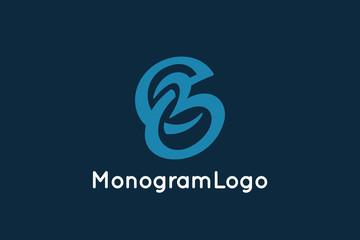 Letter E and B Monogram Logo Design Vector