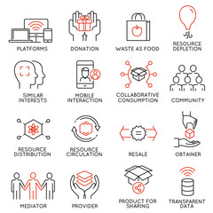 Vector set of 16 thin icons related to altruism, cooperation, collaborative consumption and volunteering. Mono line pictograms and infographics design elements - part 1