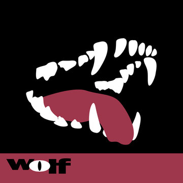wolf fangs vector illustration style Flat