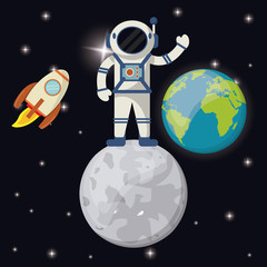 astronaut in moon earth planet rocket vector illustration eps 10