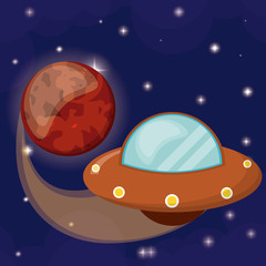 planet mars with UFO flying vector illustration eps 10