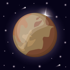 pluto planet solar system space vector illustration eps 10