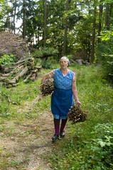 Waldarbeit der Bäuerin