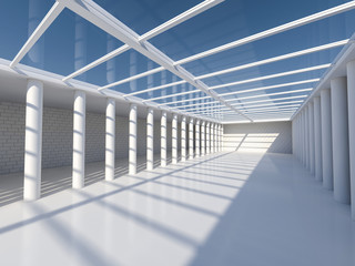 Sunny big open area with skylight. 3D rendering.