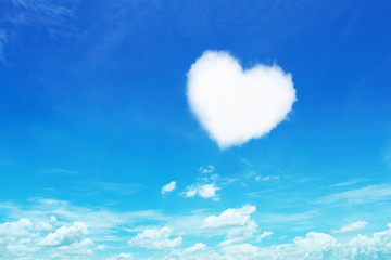 one white heart shaped cloud on blue sky