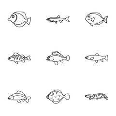 Ocean fish icons set, outline style
