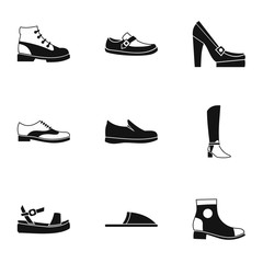 Kind of shoes icons set, simple style