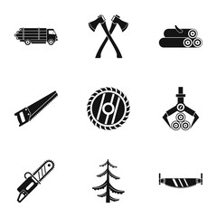 Cutting down trees icons set, simple style