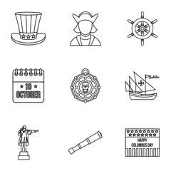 Columbus Day icons set, outline style