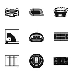 Game at stadium icons set, simple style