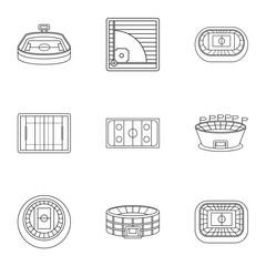 Stadium icons set, outline style