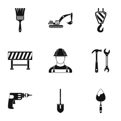 Repair icons set, simple style