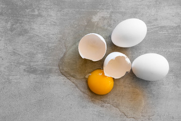 White eggs on a concrete table