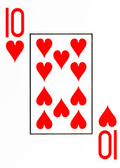 large index playing card 10 of hearts