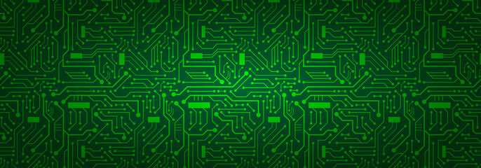 Circuit Board Banner Background (green)