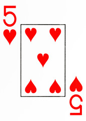 large index playing card 5 of hearts