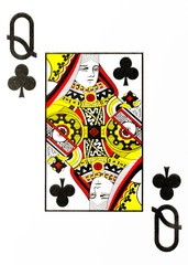 large index playing card queen of clubs