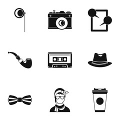 Trendy hipsters icons set, simple style