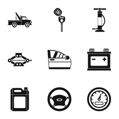 Car repairs icons set, simple style
