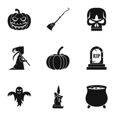 Halloween holiday icons set, simple style