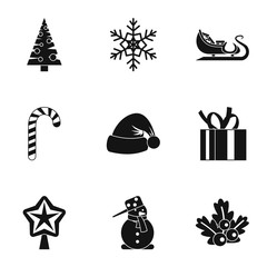 Winter holiday icons set, simple style