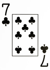large index playing card 7 of clubs