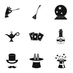 Tricks icons set, simple style