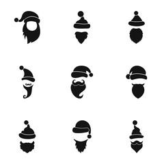 Santa Claus icons set, simple style